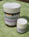 Small 15 ml jar of Calendula Cream pictured with the Large 120 ml jar of Calendula Cream