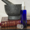 Blue glass spray bottle - lid off